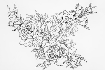 Black and white sketch of three beautiful roses.