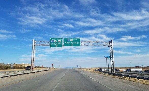 Interstate onramp in Wyoming
