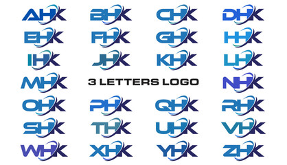 3 letters modern generic swoosh logo  AHK, BHK, CHK, DHK, EHK, FHK, GHK, HHK, IHK, JHK, KHK, LHK, MHK, NHK, OHK, PHK, QHK, RHK, SHK, THK, UHK, VHK, WHK, XHK, YHK, ZHK