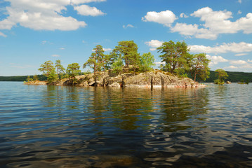Scandinavian lake with small island
