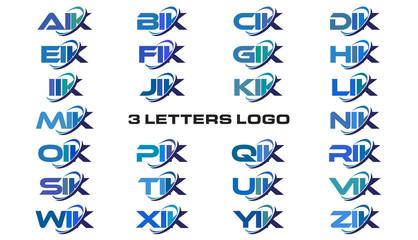 3 letters modern generic swoosh logo  AIK, BIK, CIK, DIK, EIK, FIK, GIK, HIK, IIK, JIK, KIK, LIK, MIK, NIK, OIK, PIK, QIK, RIK, SIK, TIK, UIK, VIK, WIK, XIK, YIK, ZIK