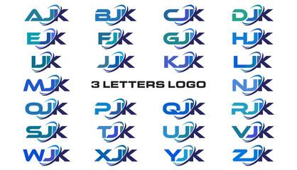 3 letters modern generic swoosh logo  AJK, BJK, CJK, DJK, EJK, FJK, GJK, HJK, IJK, JJK, KJK, LJK, MJK, NJK, OJK, PJK, QJK, RJK, SJK, TJK, UJK, VJK, WJK, XJK, YJK, ZJK
