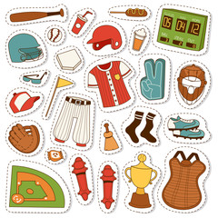 Cartoon baseball icons vector set.