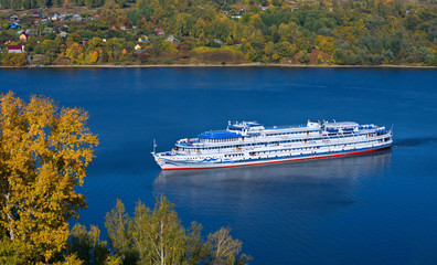 Вig cruise liner on Volga River the top view.