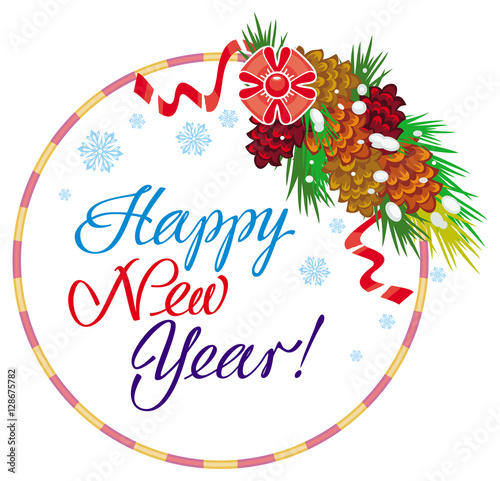 holiday round label with greeting text happy new year vector clip art