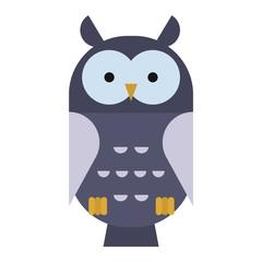 Owl wild bird cartoon vector.