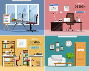 Office rooms set. Detailed graphic room interiors with furniture: office tables, chairs, laptops and office supplies. Modern workplaces. Flat style vector illustration.