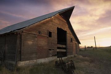 A beautiful old barn at sunset