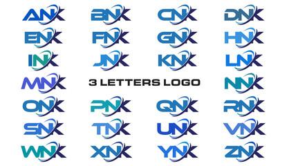 3 letters modern generic swoosh logo  ANK, BNK, CNK, DNK, ENK, FNK, GNK, HNK, INK, JNK, KNK, LNK, MNK, NNK, ONK, PNK, QNK, RNK, SNK, TNK, UNK, VNK, WNK, XNK, YNK, ZNK