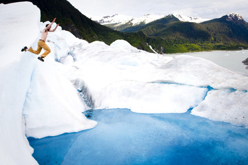 Man on a glacier in Juneau, Alaska