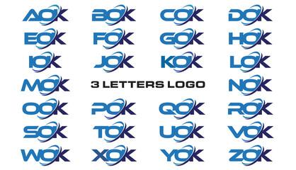 3 letters modern generic swoosh logo  AOK, BOK, COK, DOK, EOK, FOK, GOK, HOK, IOK, JOK, KOK, LOK, MOK, NOK, OOK, POK, QOK, ROK, SOK, TOK, UOK, VOK, WOK, XOK, YOK, ZOK