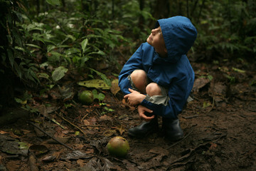 Young boy looks up at a tree in the Amazon Rainforest.