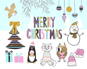 Hand drawn christmas card with cute penguin, cat, owl, snowman, bird, tree, presents and other items.