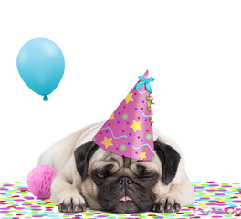 cute pug puppy dog with party hat lying down on confetti, sticking out tongue, tired of partying, on white background