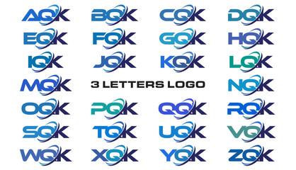 3 letters modern generic swoosh logo  AQK, BQK, CQK, DQK, EQK, FQK, GQK, HQK, IQK, JQK, KQK, LQK, MQK, NQK, OQK, PQK, QQK, RQK, SQK, TQK, UQK, VQK, WQK, XQK, YQK, ZQK