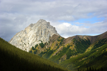 A peak at the start of the Rocky Mountains near Banff National Park in Alberta, Canada.