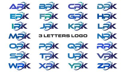 3 letters modern generic swoosh logo  ARK, BRK, CRK, DRK, ERK, FRK, GRK, HRK, IRK, JRK, KRK, LRK, MRK, NRK, ORK, PRK, QRK, RRK, SRK, TRK, URK, VRK, WRK, XRK, YRK, ZRK