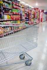 Empty trolley in an aisle