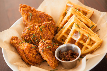 fried chicken and waffles with a glass of lemonade, The Spoon Trade American Eatery, Grover Beach, California