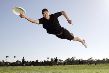 Man playing Ultimate Frisbee.