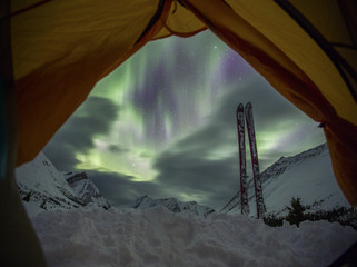 aurora from tent in back country