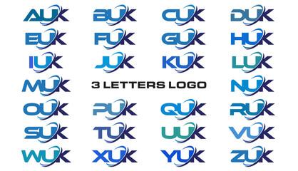 3 letters modern generic swoosh logo  AUK, BUK, CUK, DUK, EUK, FUK, GUK, HUK, IUK, JUK, KUK, LUK, MUK, NUK, OUK, PUK, QUK, RUK, SUK, TUK, UUK, VUK, WUK, XUK, YUK, ZUK