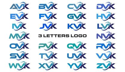 3 letters modern generic swoosh logo  AVK, BVK, CVK, DVK, EVK, FVK, GVK, HVK, IVK, JVK, KVK, LVK, MVK, NVK, OVK, PVK, QVK, RVK, SVK, TVK, UVK, VVK, WVK, XVK, YVK, ZVK