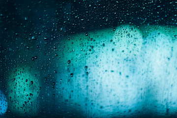 Defocused lights and water drops