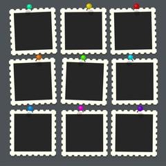 Flat vector photo frame set on colorful pin. Template photo design, Vector illustration.Vector illustration in simple style for design and flat motion design