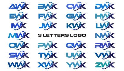 3 letters modern generic swoosh logo  AWK, BWK, CWK, DWK, EWK, FWK, GWK, HWK, IWK, JWK, KWK, LWK, MWK, NWK, OWK, PWK, QWK, RWK, SWK, TWK, UWK, VWK, WWK, XWK, YWK, ZWK