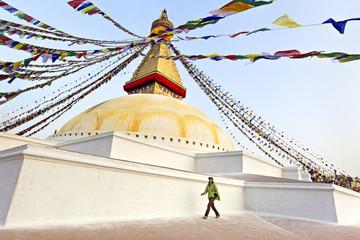 Woman traveler at Buddhist Temple