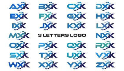3 letters modern generic swoosh logo  AXK, BXK, CXK, DXK, EXK, FXK, GXK, HXK, IXK, JXK, KXK, LXK, MXK, NXK, OXK, PXK, QXK, RXK, SXK, TXK, UXK, VXK, WXK, XXK, YXK, ZXK
