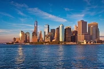Manhattanat at sunset, New York City, USA