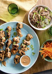 Chicken Kebabs with Cucumber Noodles and Sesame-Carrot Salad