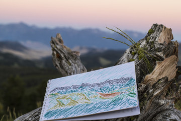 Drawing of Montana's Rocky Mountains