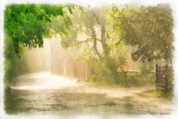 Rain and sunlight digital watercolor drawing.