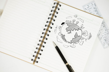 drawing world map on diary