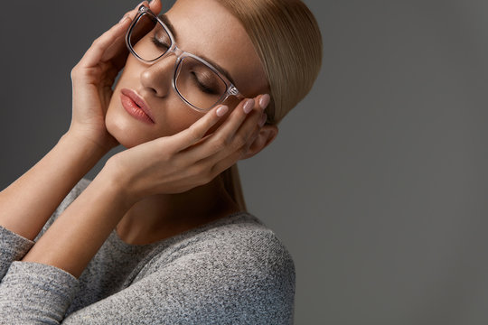 Women Fashion Glasses. Girl In Stylish Grey Eyeglasses, Eyewear