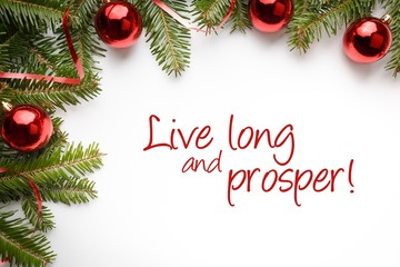 "Christmas decorations with popular Star Trek line ""Live long and prosper!"""