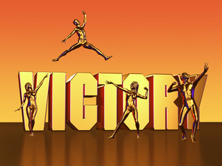 Victory Lettering with Four Golden Dancers