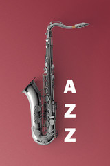 Saxophone on color background