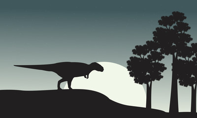 Silhouette of mapusaurus on the park
