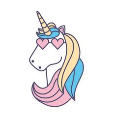 Cute fantasy unicorn icon vector illustration design