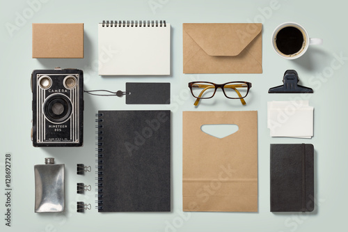 Attrayant Modern Hipster Style Stationery Mockup With Various Paper Items, Office  Supplies, Glasses, Coffee