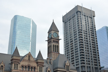 Old city hall  and skyscrapers in Toronto downtown