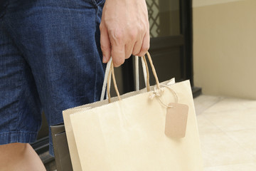 Concept of man shopping and holding bags, closeup images.
