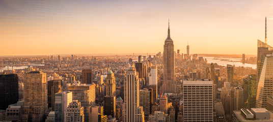 New York City skyline panorama at sunset Fotobehang