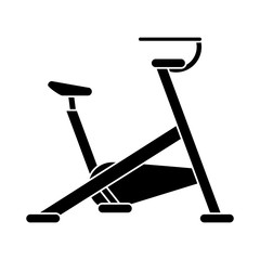 silhouette stationary bicycle machine gym sport vector illustration eps 10