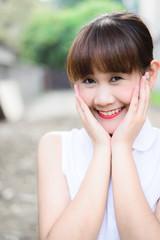 beautiful Thai girl in park