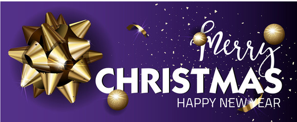Merry Christmas or Happy New Year web banner design template.